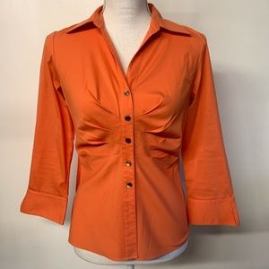 Lafayette 148 Coral Orange Ruched Pleated Blouse